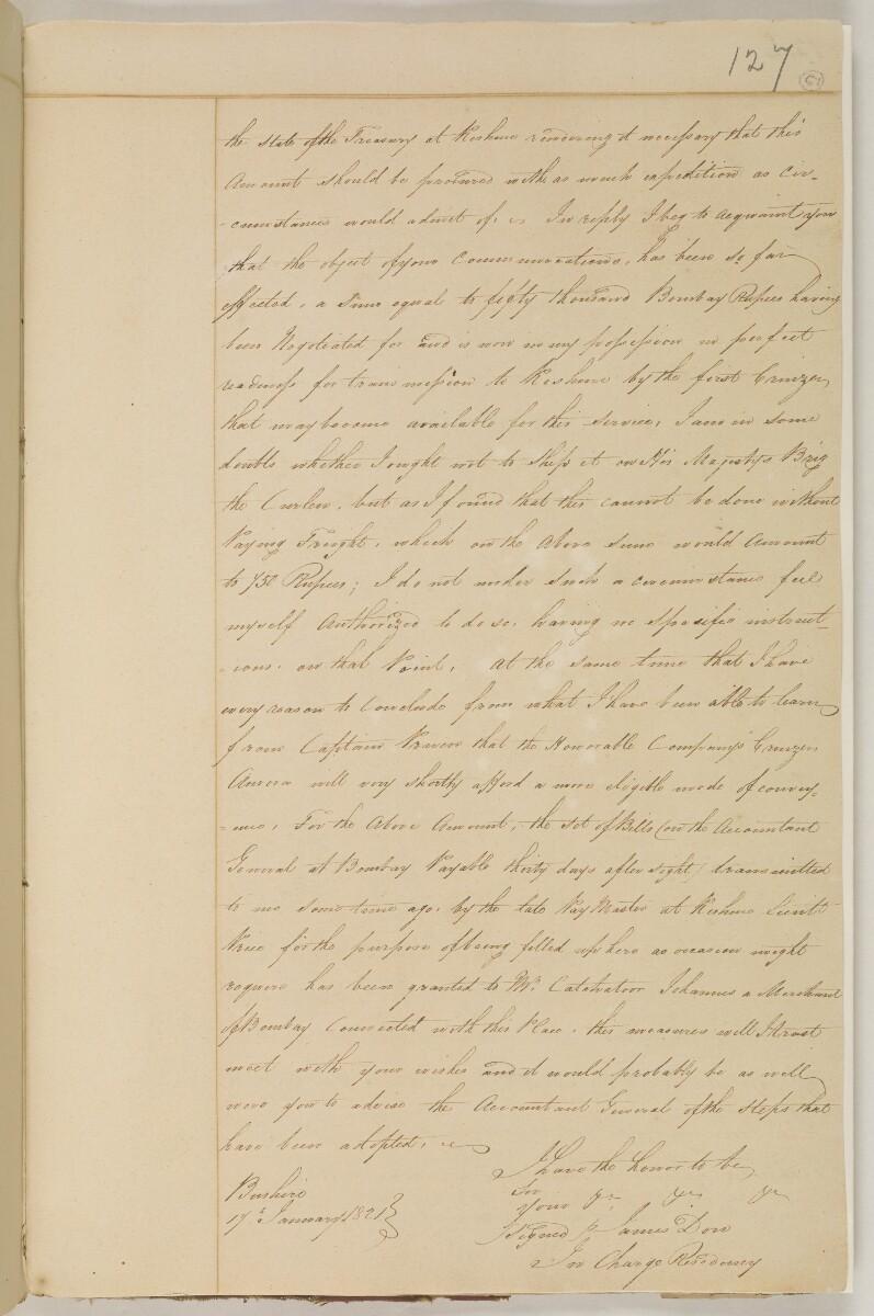 """رسالة من جيمس داو، الجرّاح المساعد، المسؤول مؤقتاً عن المقيمية البريطانية في بوشهر، إلى النقيب توماس بيرونيت تومبسون، الوكيل السياسي في قشم [<span dir=""""ltr"""">و٦٧</span>] (٢/٢)"""