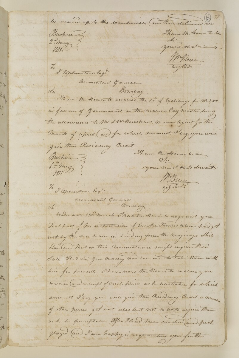 Letter from William Bruce, Acting Resident at Bushire to John Elphinstone, Civil Auditor, Bombay [‎45r] (2/2)