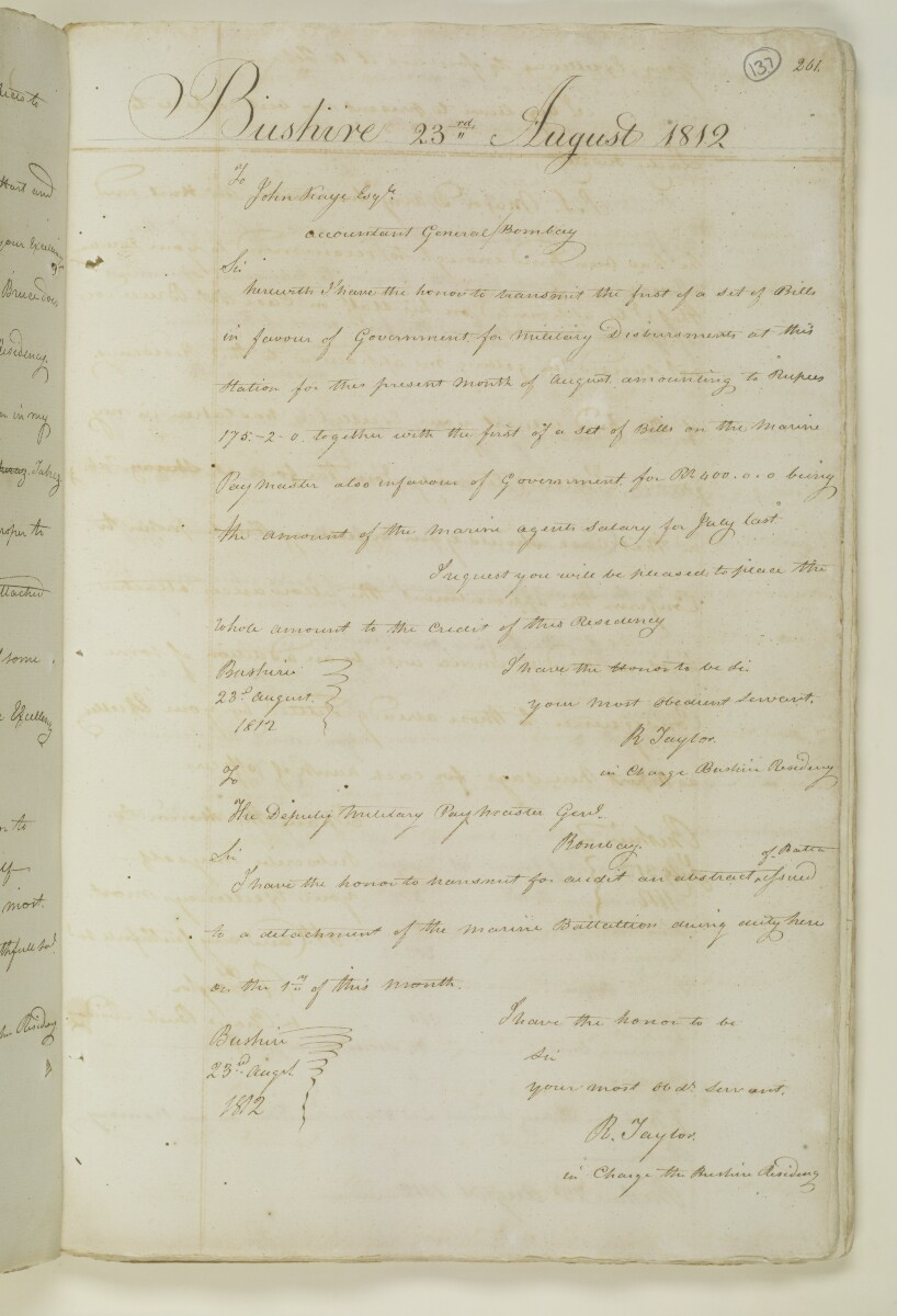Letter from Lieutenant Robert Taylor, in charge at the Bushire Residency to John Kaye, Accountant General, Bombay [137r] (1/1)