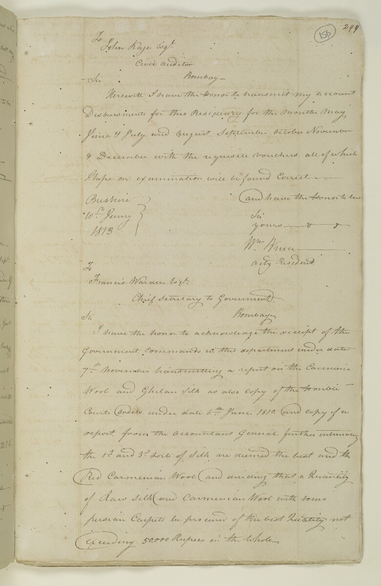 Letter from William Bruce, Acting Resident at Bushire to John Kaye, Civil Auditor, Bombay [156r] (1/1)