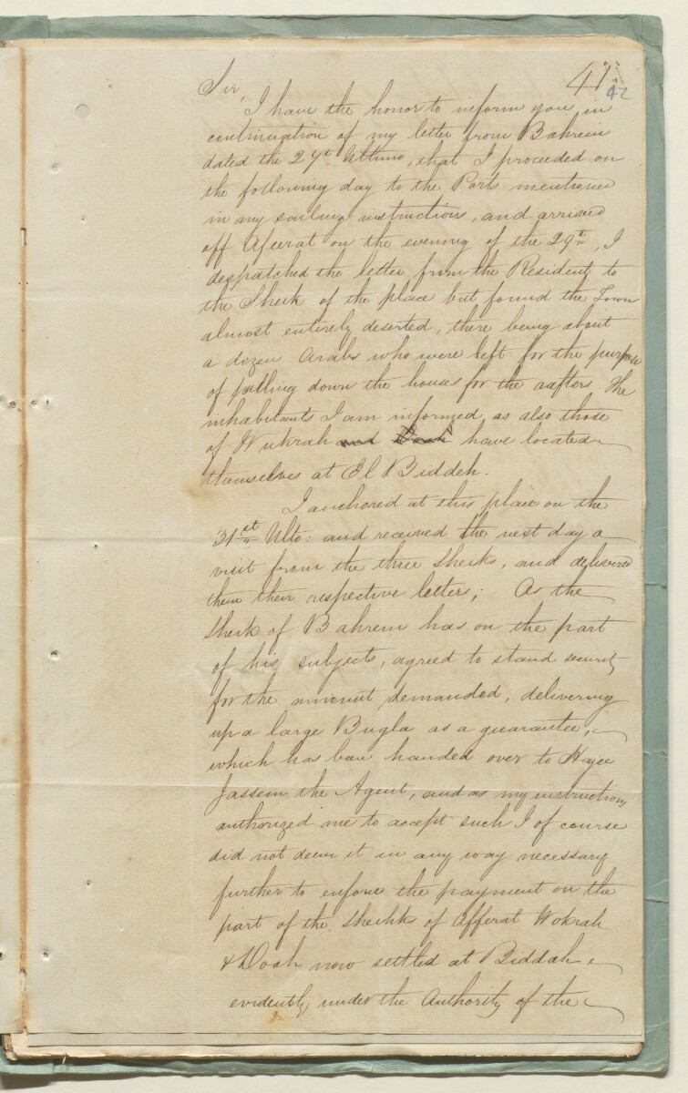 Letter no.8 of 1851 from Lt Frederick Erskine Manners, Brigantine <em>Tigris</em> , to Commodore John Patterson Porter, Commanding Indian Naval Squadron, Persian Gulf [&lrm;42r] (2/3)