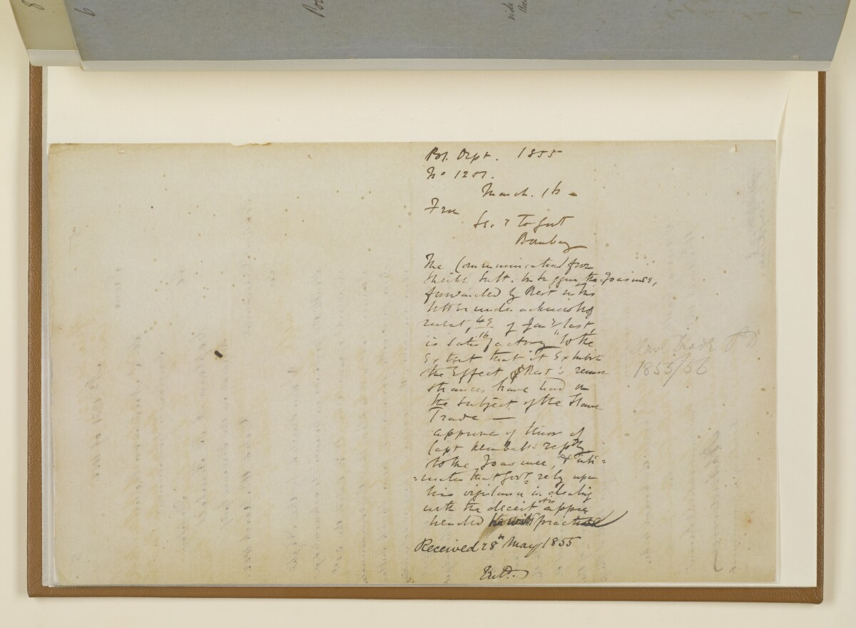 Letter no.1251 of 1855 from Henry Anderson, Secretary to the Government of Bombay, to Captain Arnold Kemball, Resident in the Persian Gulf [5v] (2/2)