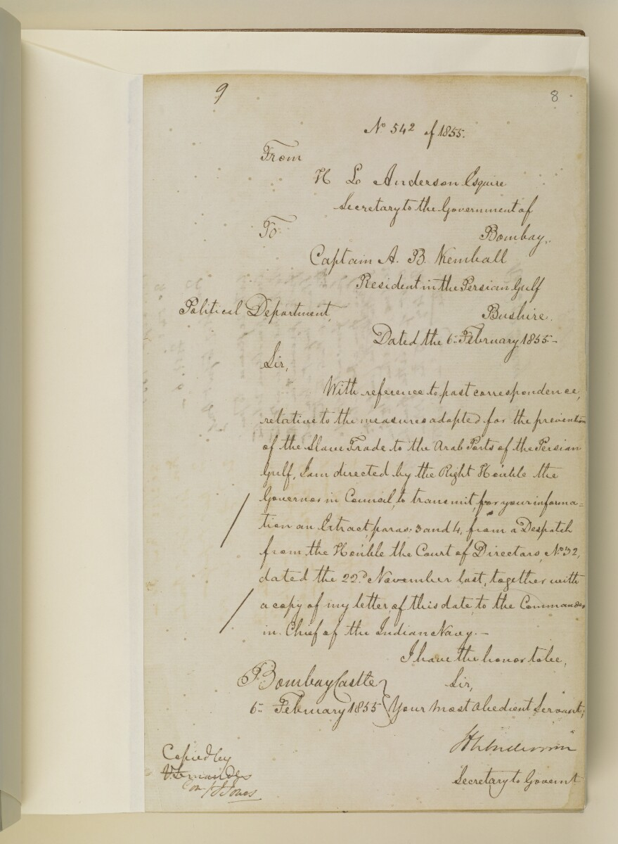Letter no.542 of 1855 from Henry Anderson, Secretary to the Government of Bombay, to Captain Arnold Kemball, Resident in the Persian Gulf [8r] (1/6)