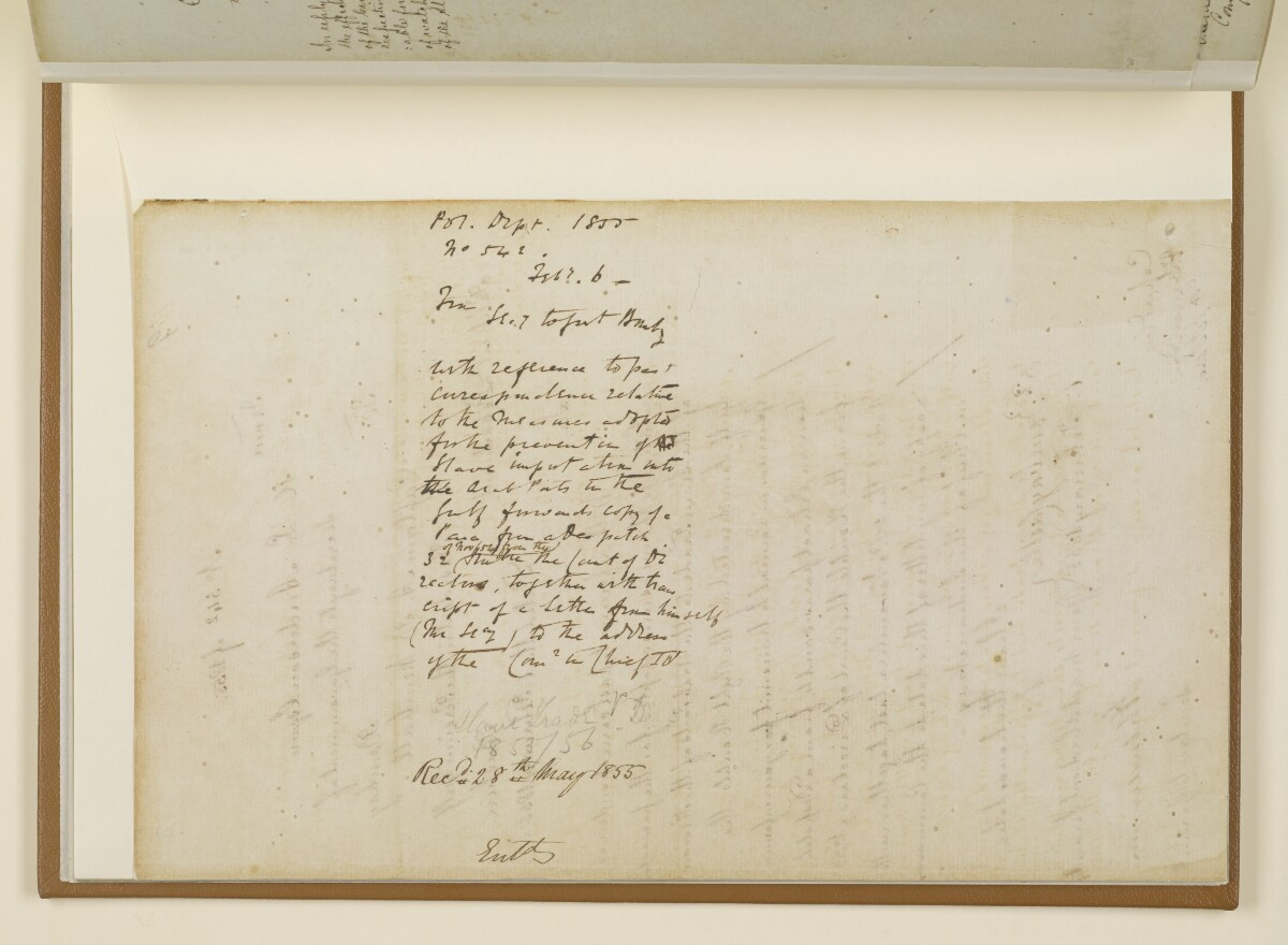 Letter no.542 of 1855 from Henry Anderson, Secretary to the Government of Bombay, to Captain Arnold Kemball, Resident in the Persian Gulf [8v] (2/6)