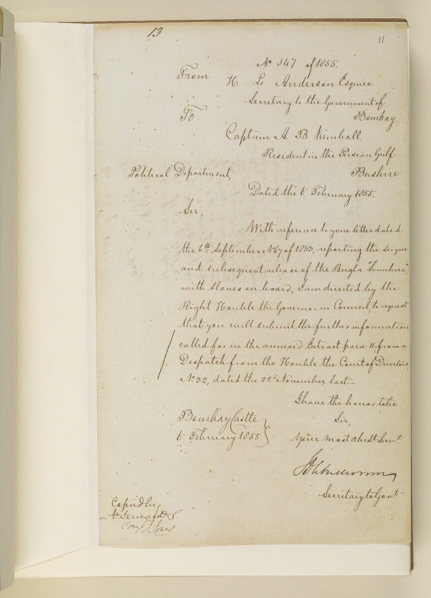Letter no.547 of 1855 from Henry Anderson, Secretary to the Government of Bombay, to Captain Arnold Kemball, Resident in the Persian Gulf [11r] (1/4)