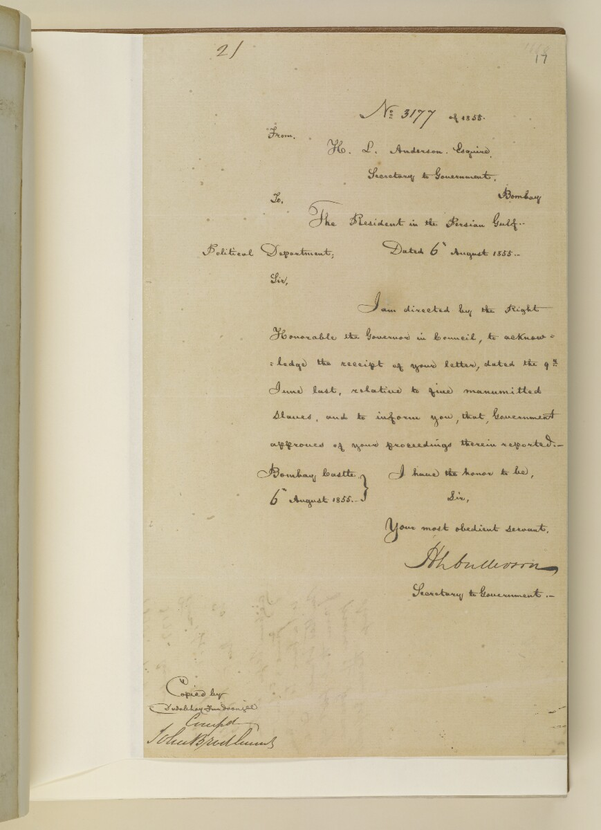 Letter no.3177 of 1855 from Henry Anderson, Secretary to the Government of Bombay, to the Resident in the Persian Gulf [‎17r] (1/2)