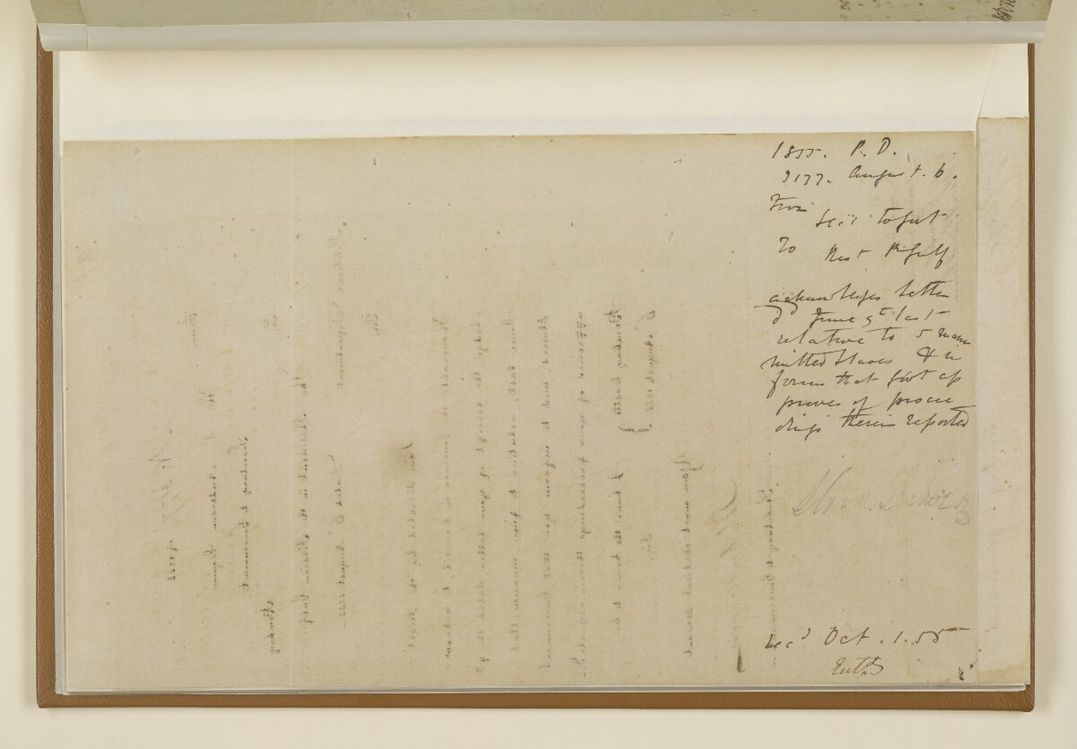 Letter no.3177 of 1855 from Henry Anderson, Secretary to the Government of Bombay, to the Resident in the Persian Gulf [‎17v] (2/2)