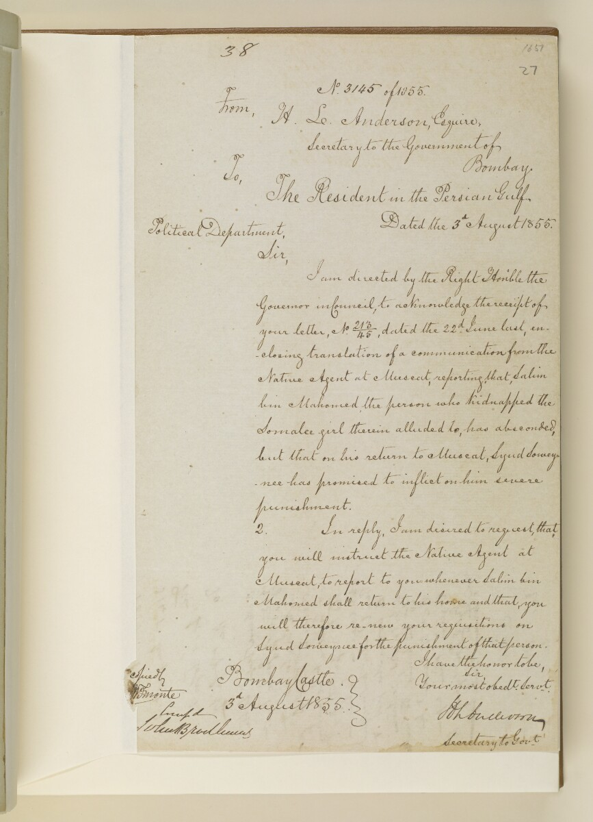 Letter no.3145 of 1855 from Henry Anderson, Secretary to the Government of Bombay, to the Resident in the Persian Gulf [‎27r] (1/2)