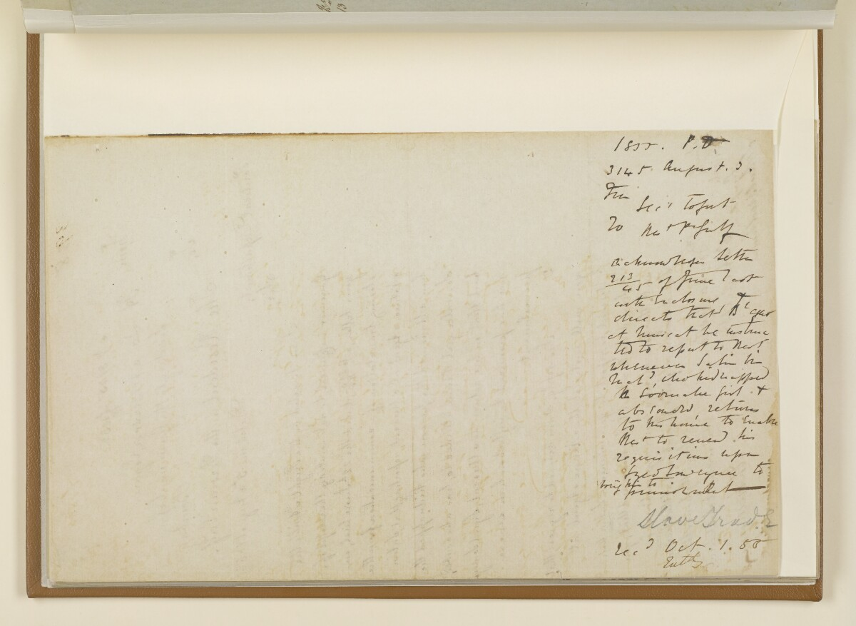 Letter no.3145 of 1855 from Henry Anderson, Secretary to the Government of Bombay, to the Resident in the Persian Gulf [27v] (2/2)
