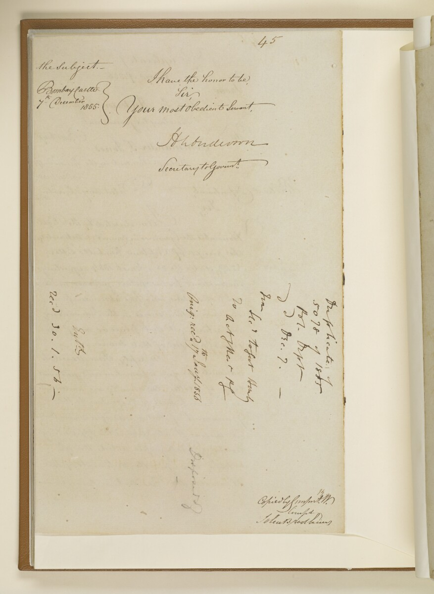 Duplicate letter no.5078 of 1855 from Henry Anderson, Secretary to the Government of Bombay, to Commander Felix Jones, Acting Resident in the Persian Gulf [31v] (2/14)