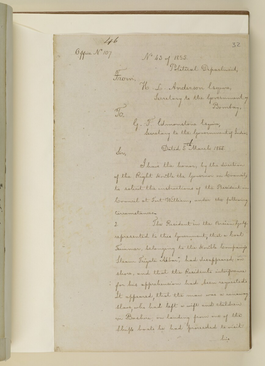 Duplicate letter no.5078 of 1855 from Henry Anderson, Secretary to the Government of Bombay, to Commander Felix Jones, Acting Resident in the Persian Gulf [‎32r] (3/14)