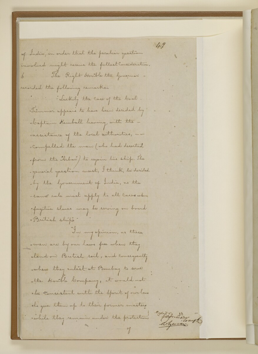 Duplicate letter no.5078 of 1855 from Henry Anderson, Secretary to the Government of Bombay, to Commander Felix Jones, Acting Resident in the Persian Gulf [‎33v] (6/14)