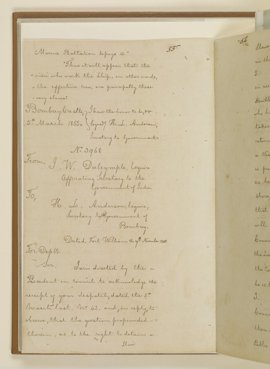 Duplicate letter no.5078 of 1855 from Henry Anderson, Secretary to the Government of Bombay, to Commander Felix Jones, Acting Resident in the Persian Gulf [36v] (12/14)