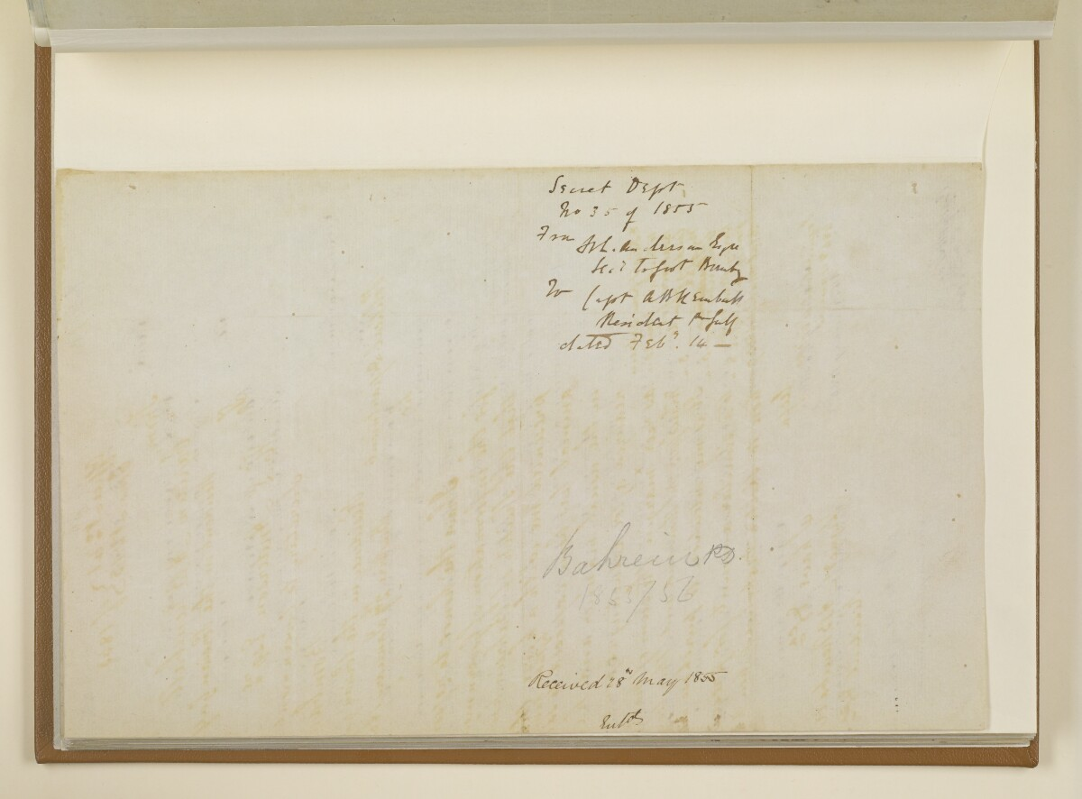 Letter no.35 of 1855 from Henry Anderson, Secretary to the Government of Bombay, to Captain Arnold Kemball, Resident in the Persian Gulf [45v] (2/2)