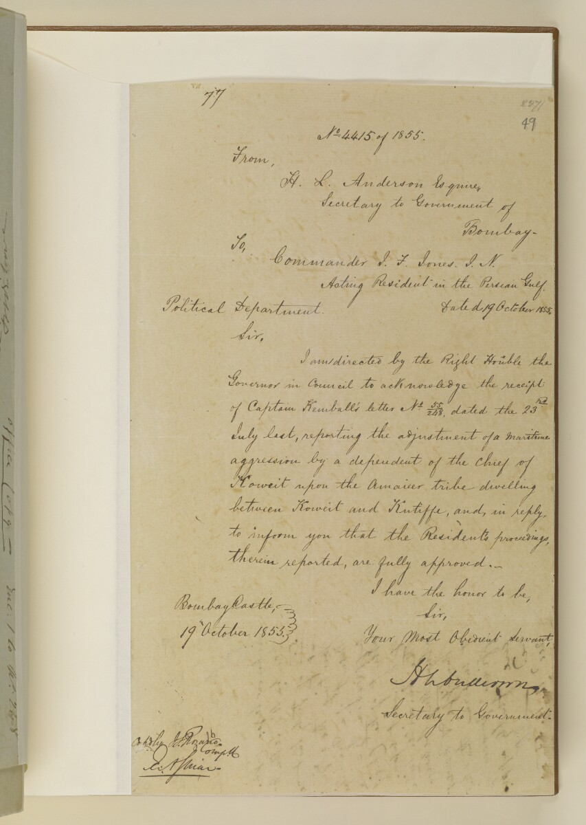 Letter no.4415 of 1855 from Henry Anderson, Secretary to the Government of Bombay, to Commander Felix Jones, Acting Resident in the Persian Gulf [49r] (1/2)