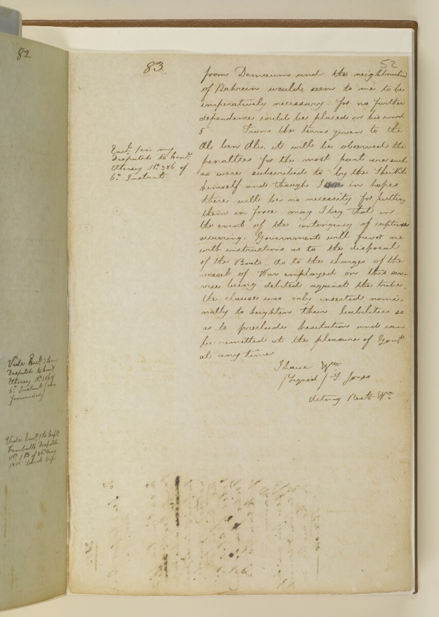 Letter no.393 of 1855 from Commander Felix Jones, Acting Resident in the Persian Gulf, to Henry Anderson, Secretary to the Government of Bombay [52r] (3/16)