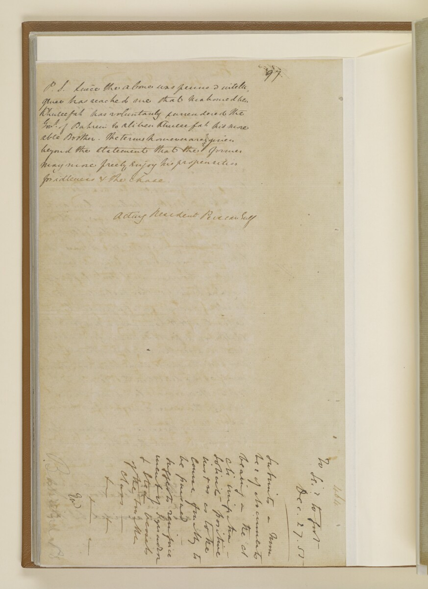 Letter no.464 of 1855 from Commander Felix Jones, Acting Resident in the Persian Gulf, to Henry Anderson, Secretary to the Government of Bombay [60v] (4/20)