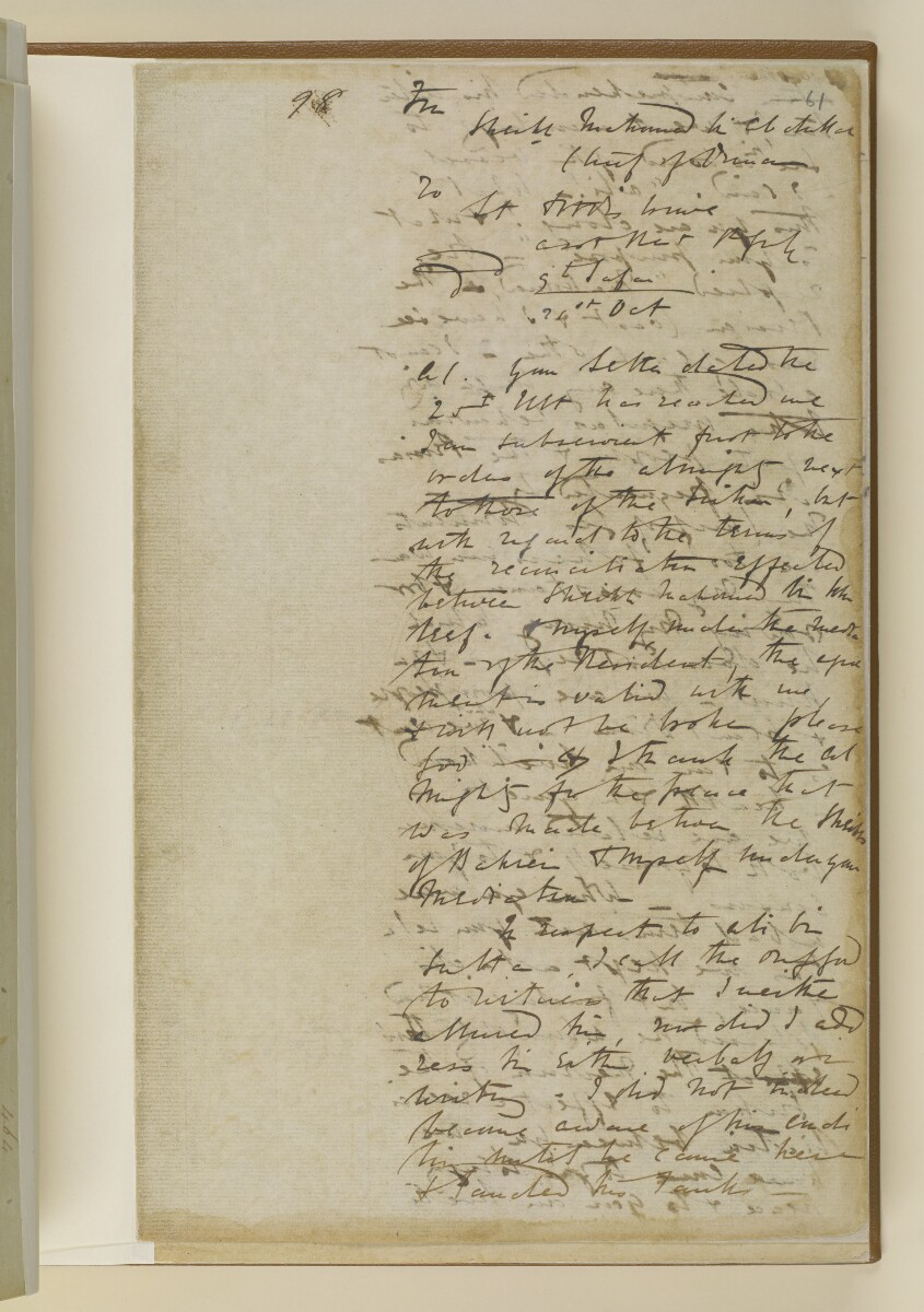 Letter no.464 of 1855 from Commander Felix Jones, Acting Resident in the Persian Gulf, to Henry Anderson, Secretary to the Government of Bombay [61r] (5/20)