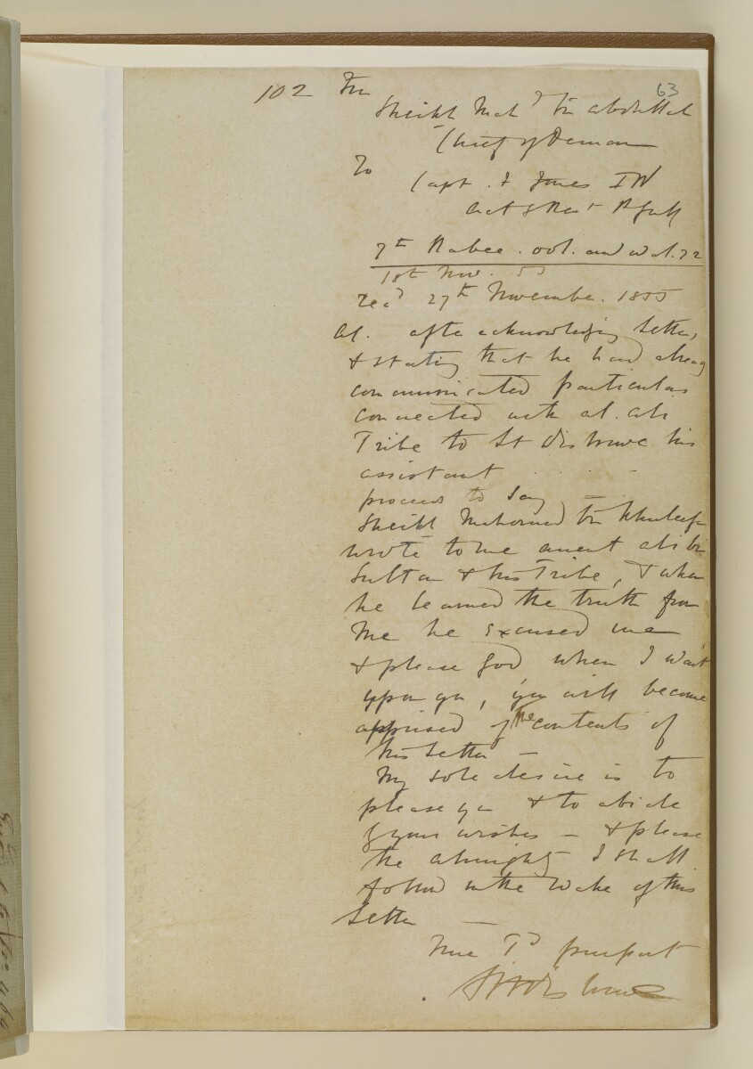 Letter no.464 of 1855 from Commander Felix Jones, Acting Resident in the Persian Gulf, to Henry Anderson, Secretary to the Government of Bombay [‎63r] (9/20)