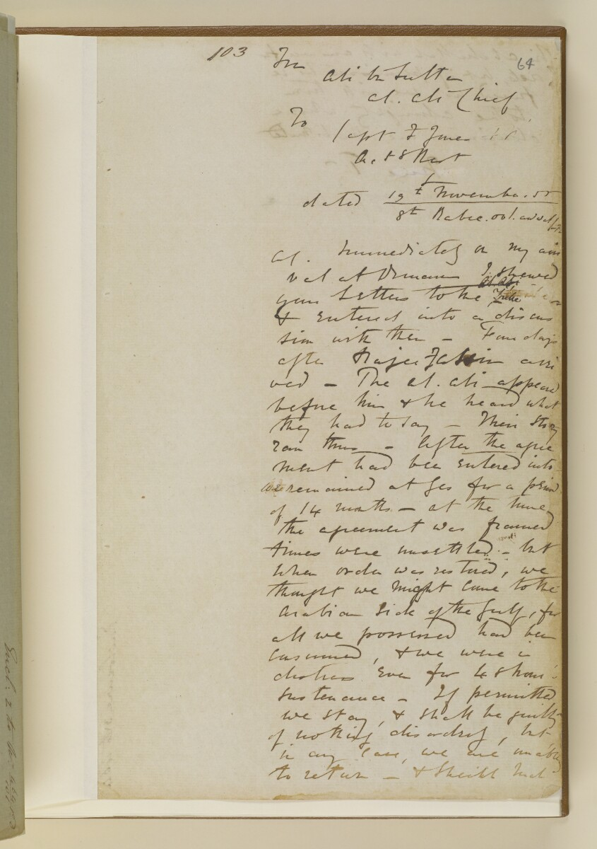 Letter no.464 of 1855 from Commander Felix Jones, Acting Resident in the Persian Gulf, to Henry Anderson, Secretary to the Government of Bombay [‎64r] (11/20)