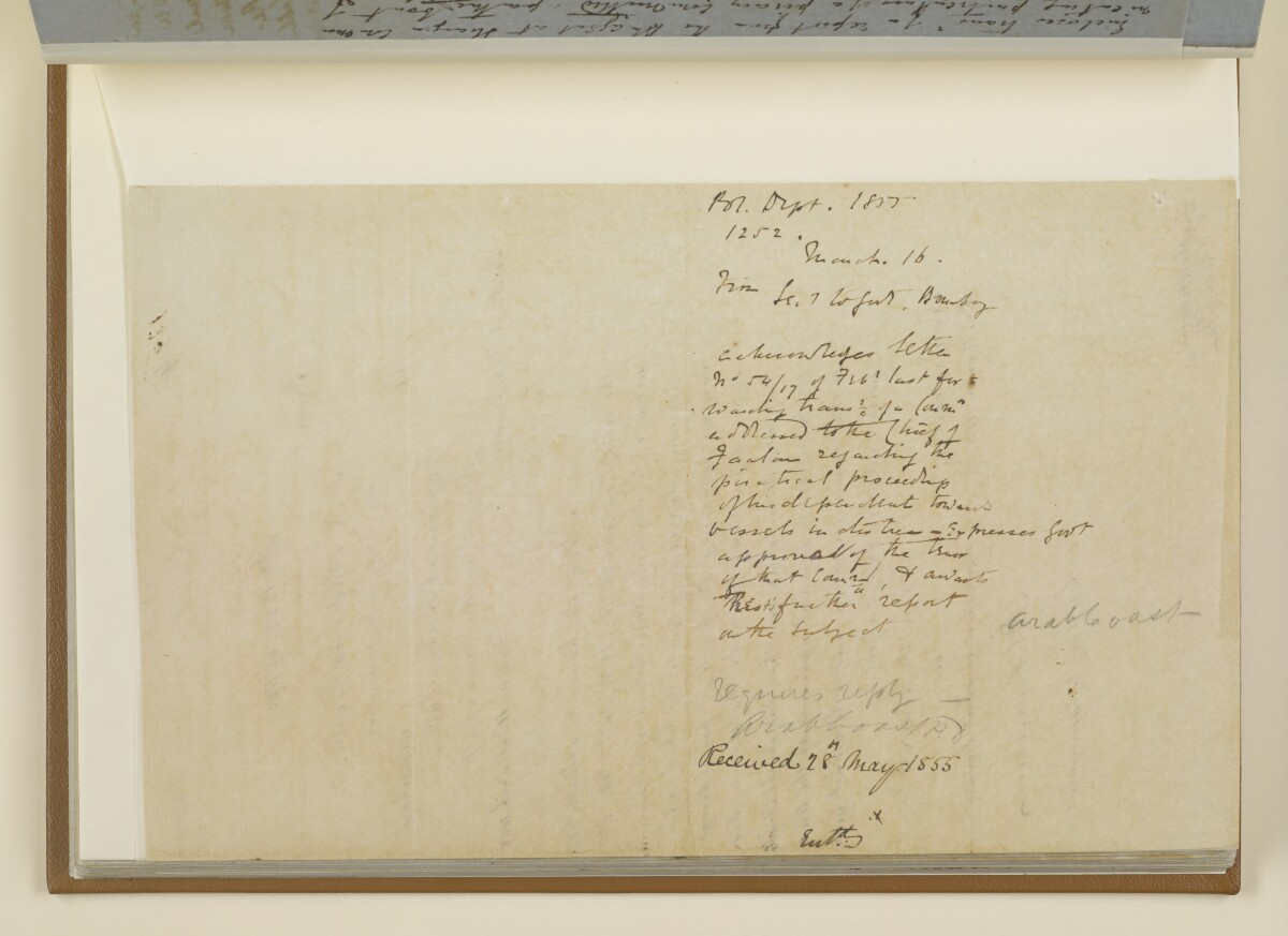 Letter no.1252 of 1855 from Henry Anderson, Secretary to the Government of Bombay, to Captain Arnold Kemball, Resident in the Persian Gulf [73v] (2/2)