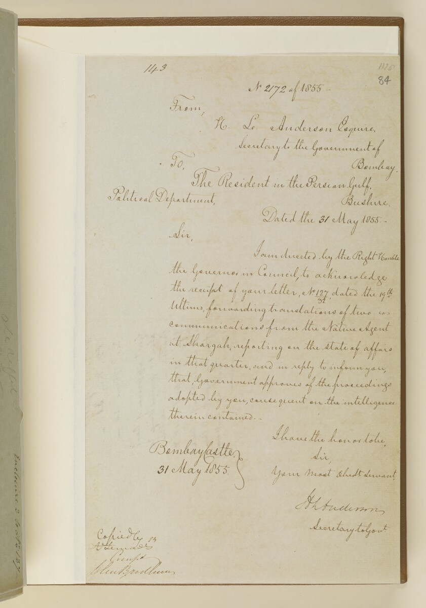Letter no.2172 of 1855 from Henry Anderson, Secretary to the Government of Bombay, to the Resident in the Persian Gulf [84r] (1/2)