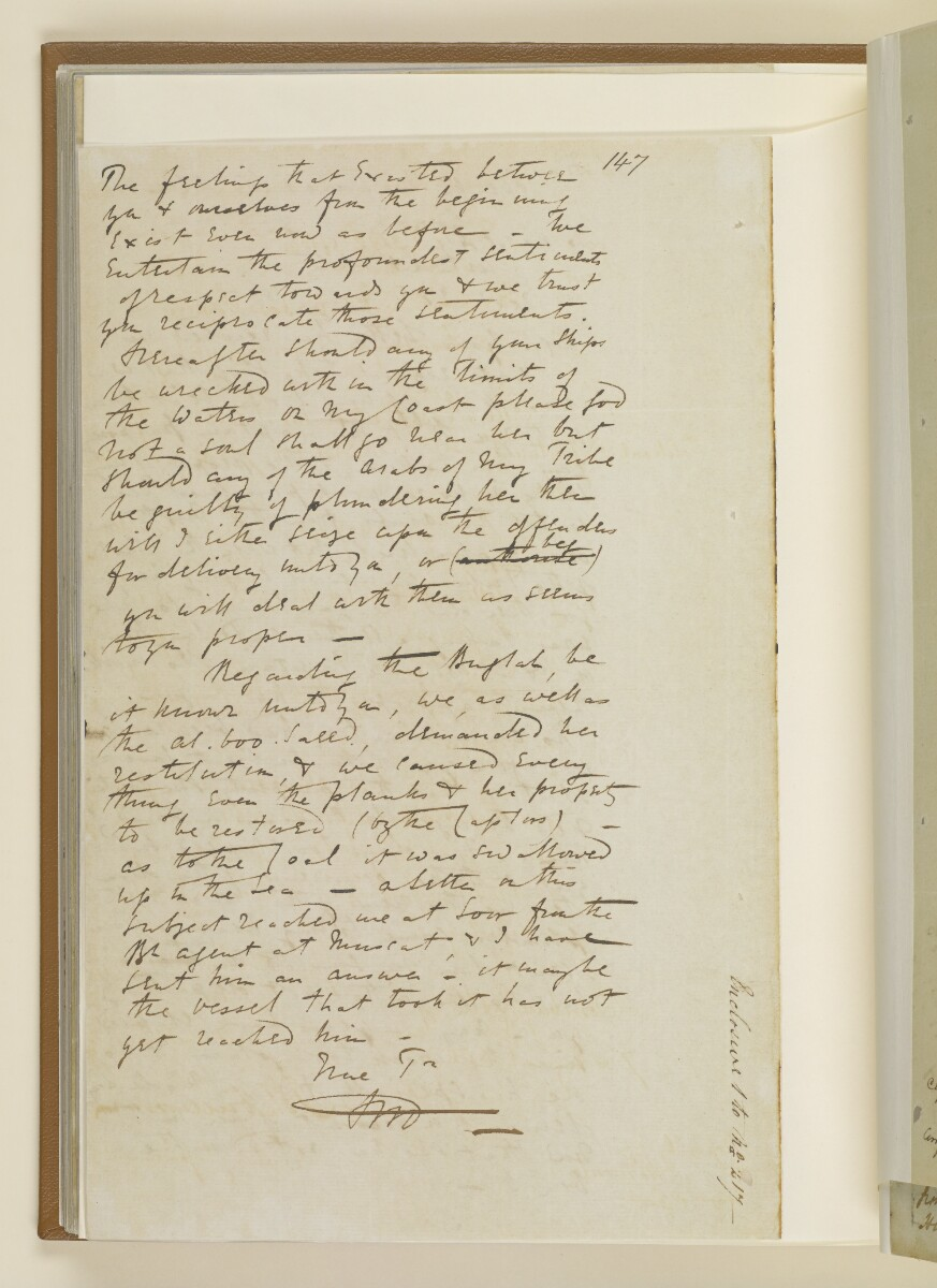 Letter no.217 of 1855 from Captain Arnold Kemball, Resident in the Persian Gulf, to Henry Anderson, Secretary to the Government of Bombay [86v] (4/4)