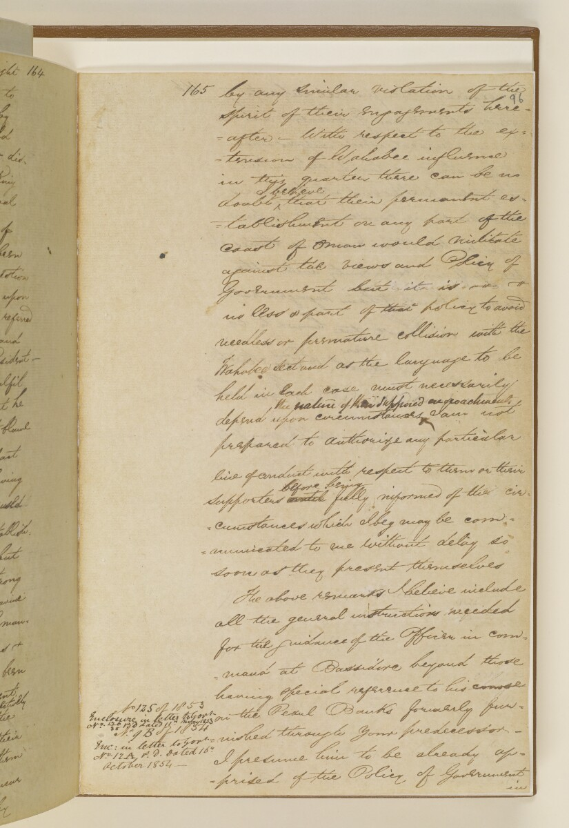 Letter no.2A from Captain Arnold Kemball, Resident in the Persian Gulf, to Henry Anderson, Secretary to the Government of Bombay [‎96r] (17/18)