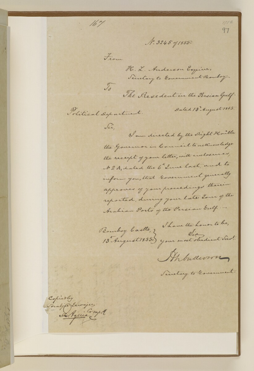 Letter no.3245 of 1855 from Henry Anderson, Secretary to the Government of Bombay, to the Resident in the Persian Gulf [97r] (1/2)