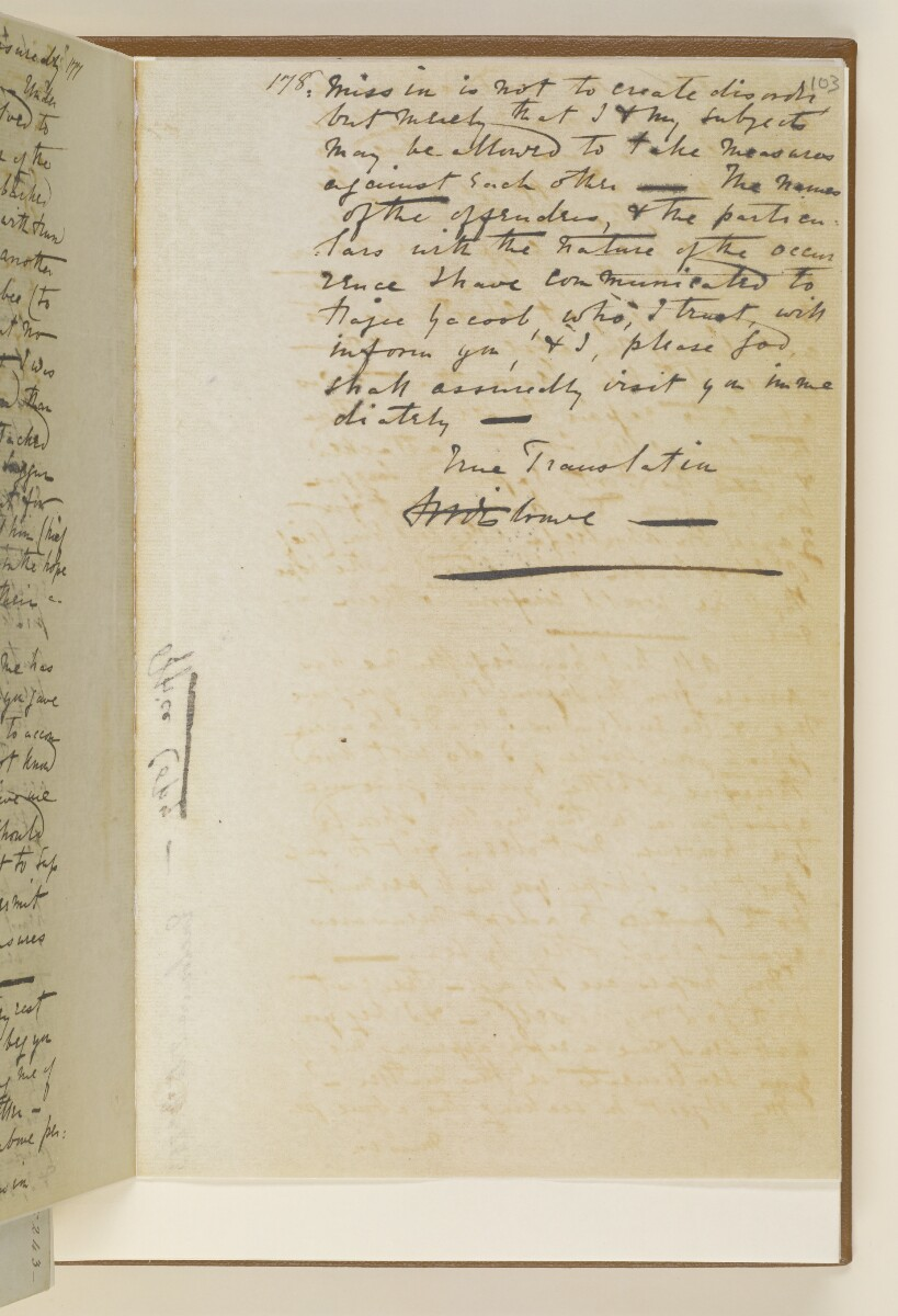 Letter no.243 of 1855 from Captain Arnold Kemball, Resident in the Persian Gulf, to Henry Anderson, Secretary to the Government of Bombay [‎103r] (11/26)
