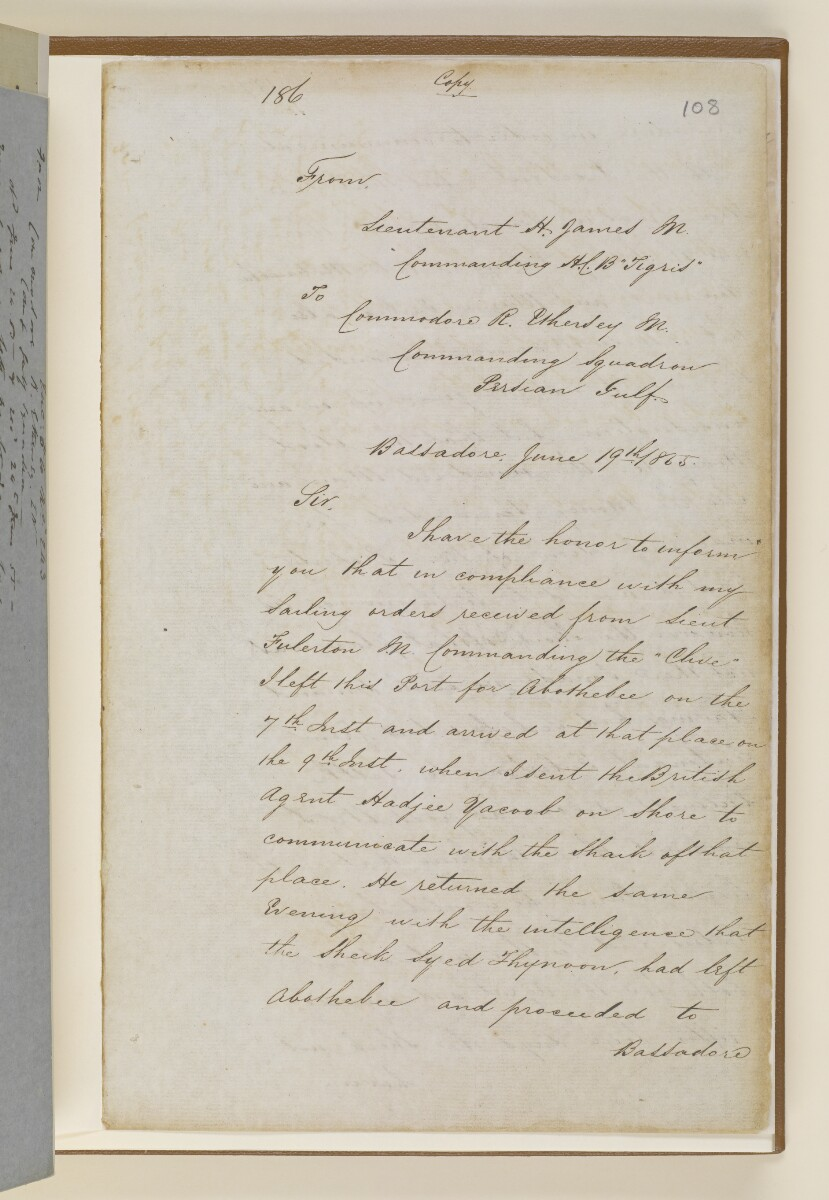 Letter no.243 of 1855 from Captain Arnold Kemball, Resident in the Persian Gulf, to Henry Anderson, Secretary to the Government of Bombay [108r] (21/26)