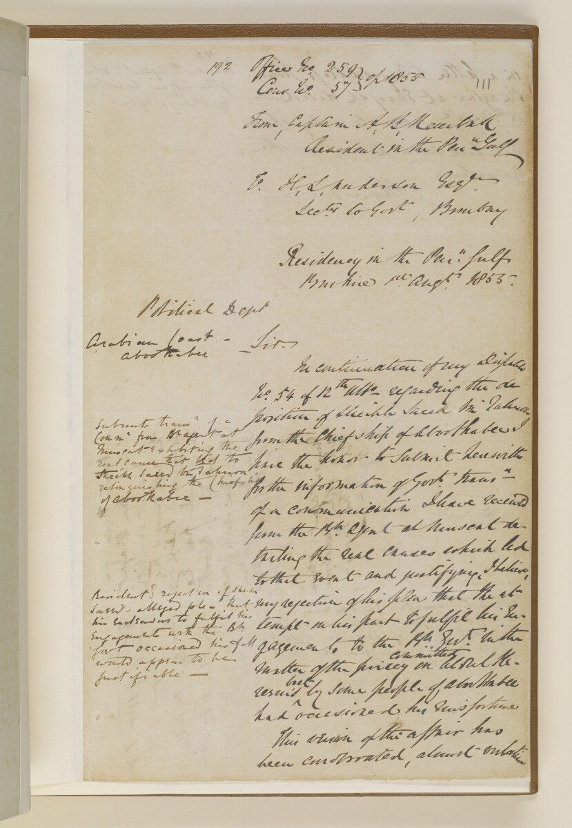 Letter no.259 of 1855 from Captain Arnold Kemball, Resident in the Persian Gulf, to Henry Anderson, Secretary to the Government of Bombay [111r] (1/4)