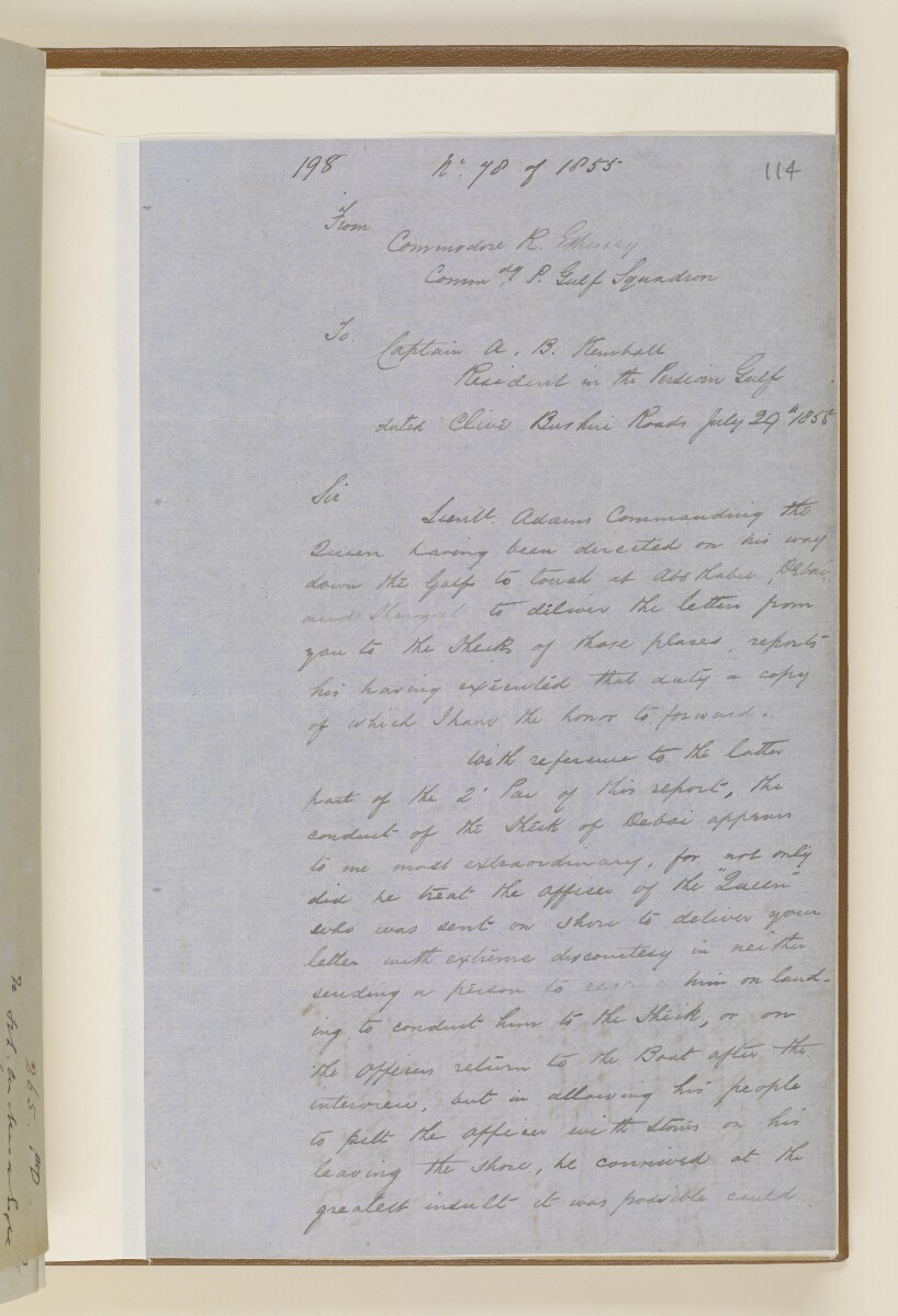 Letter no.265 of 1855 from Captain Arnold Kemball, Resident in the Persian Gulf, to Henry Anderson, Secretary to the Government of Bombay [‎114r] (3/10)