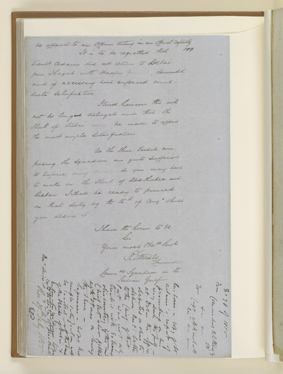 Letter no.265 of 1855 from Captain Arnold Kemball, Resident in the Persian Gulf, to Henry Anderson, Secretary to the Government of Bombay [114v] (4/10)