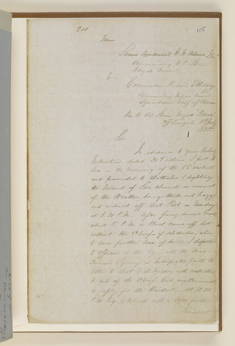 Letter no.265 of 1855 from Captain Arnold Kemball, Resident in the Persian Gulf, to Henry Anderson, Secretary to the Government of Bombay [115r] (5/10)