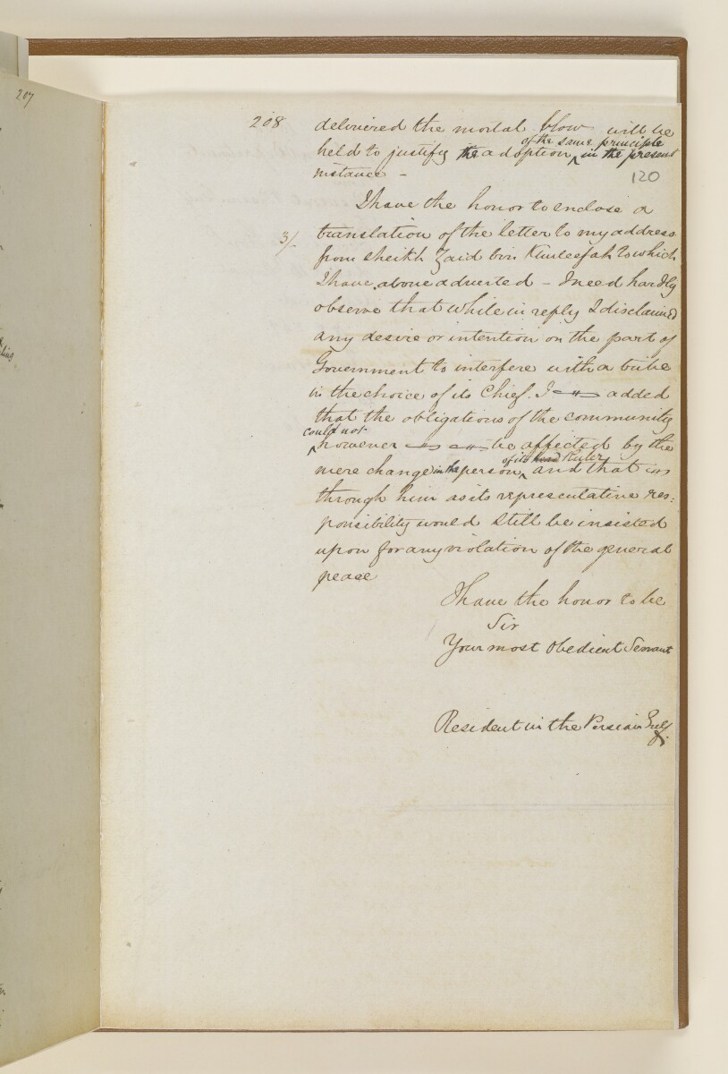Letter no.269 of 1855 from Captain Arnold Kemball, Resident in the Persian Gulf, to Henry Anderson, Secretary to the Government of Bombay [‎120r] (3/18)