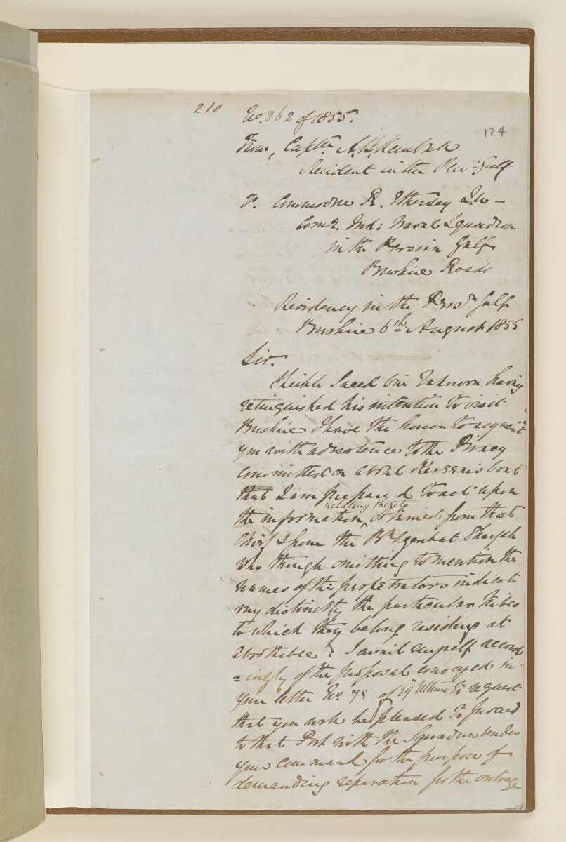 Letter no.269 of 1855 from Captain Arnold Kemball, Resident in the Persian Gulf, to Henry Anderson, Secretary to the Government of Bombay [‎124r] (11/18)