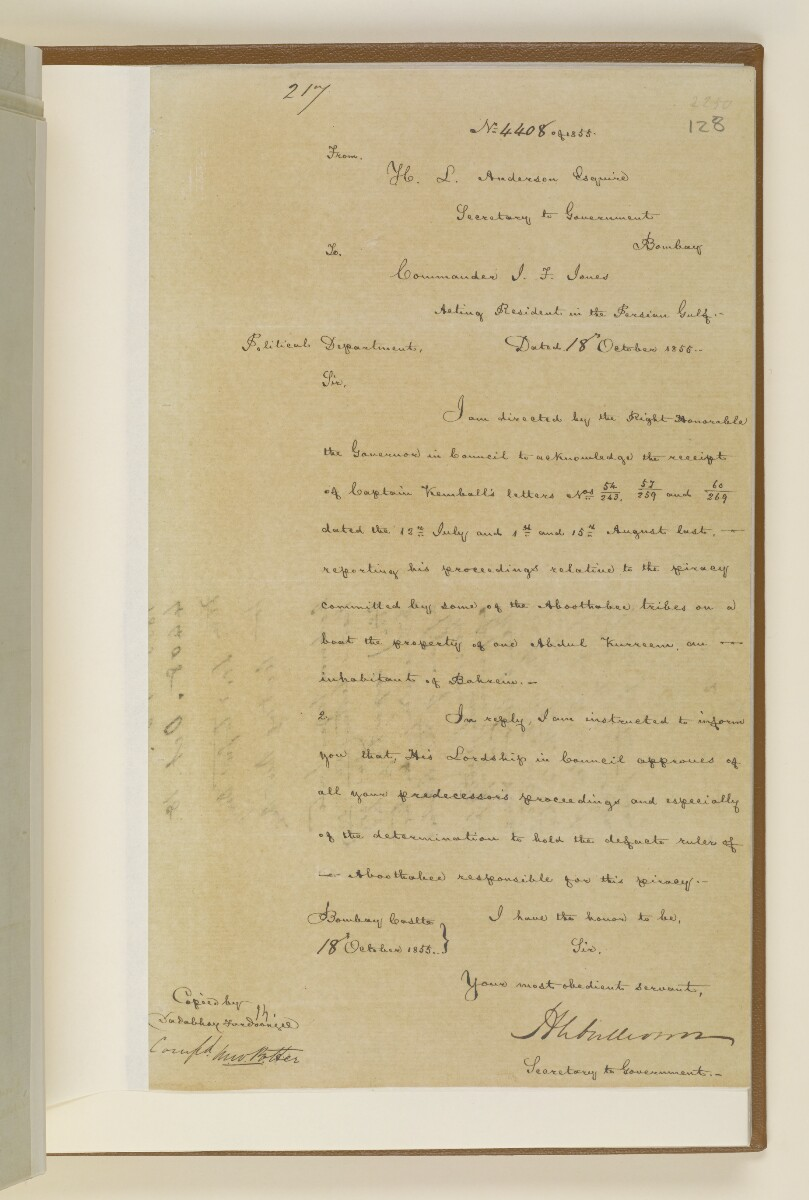 Letter no.4408 of 1855 from Henry Anderson, Secretary to the Government of Bombay, to Commander Felix Jones, Acting Resident in the Persian Gulf [‎128r] (1/2)
