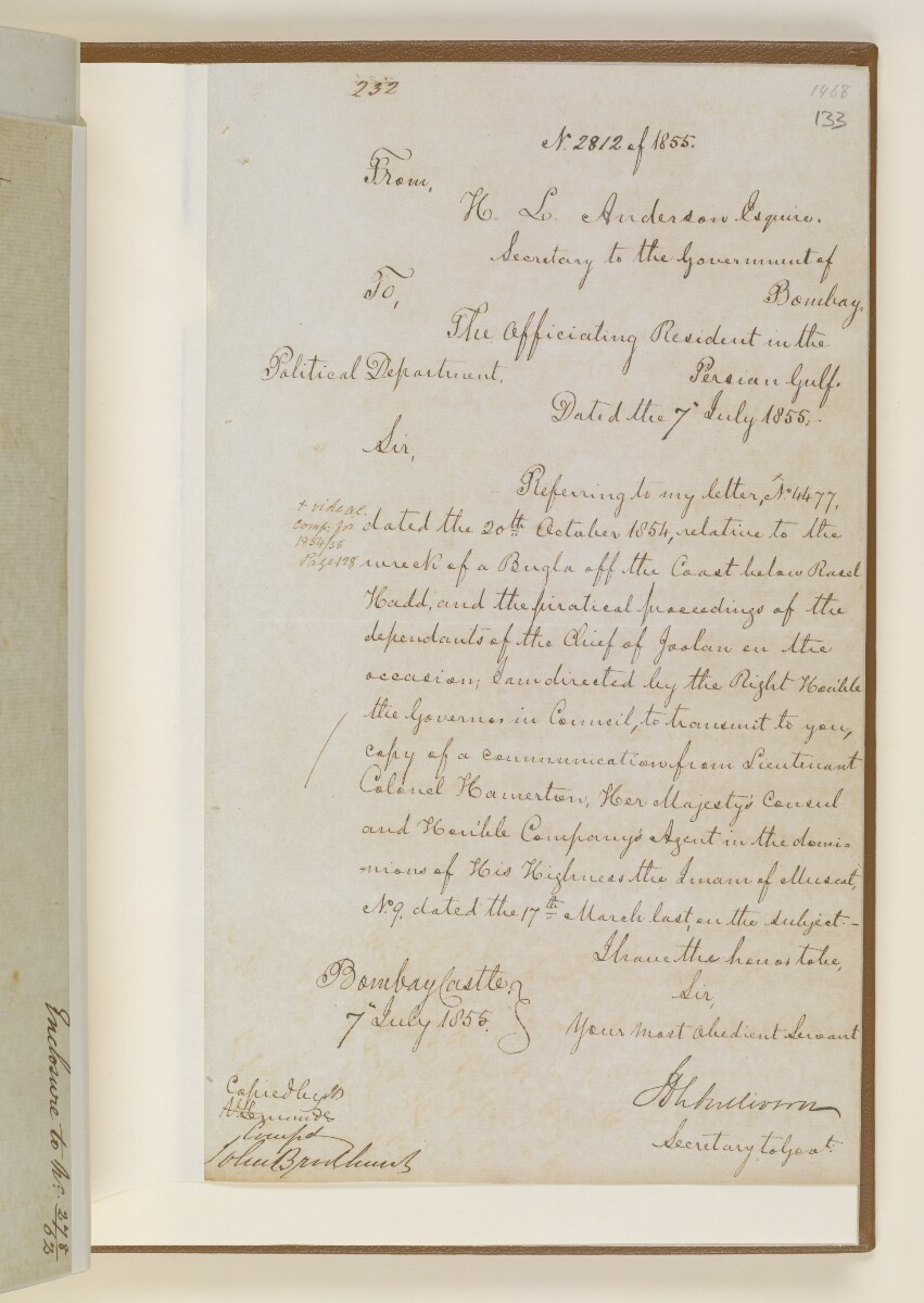 Letter no.2812 of 1855 from Henry Anderson, Secretary to the Government of Bombay, to the Officiating Resident in the Persian Gulf [133r] (1/6)