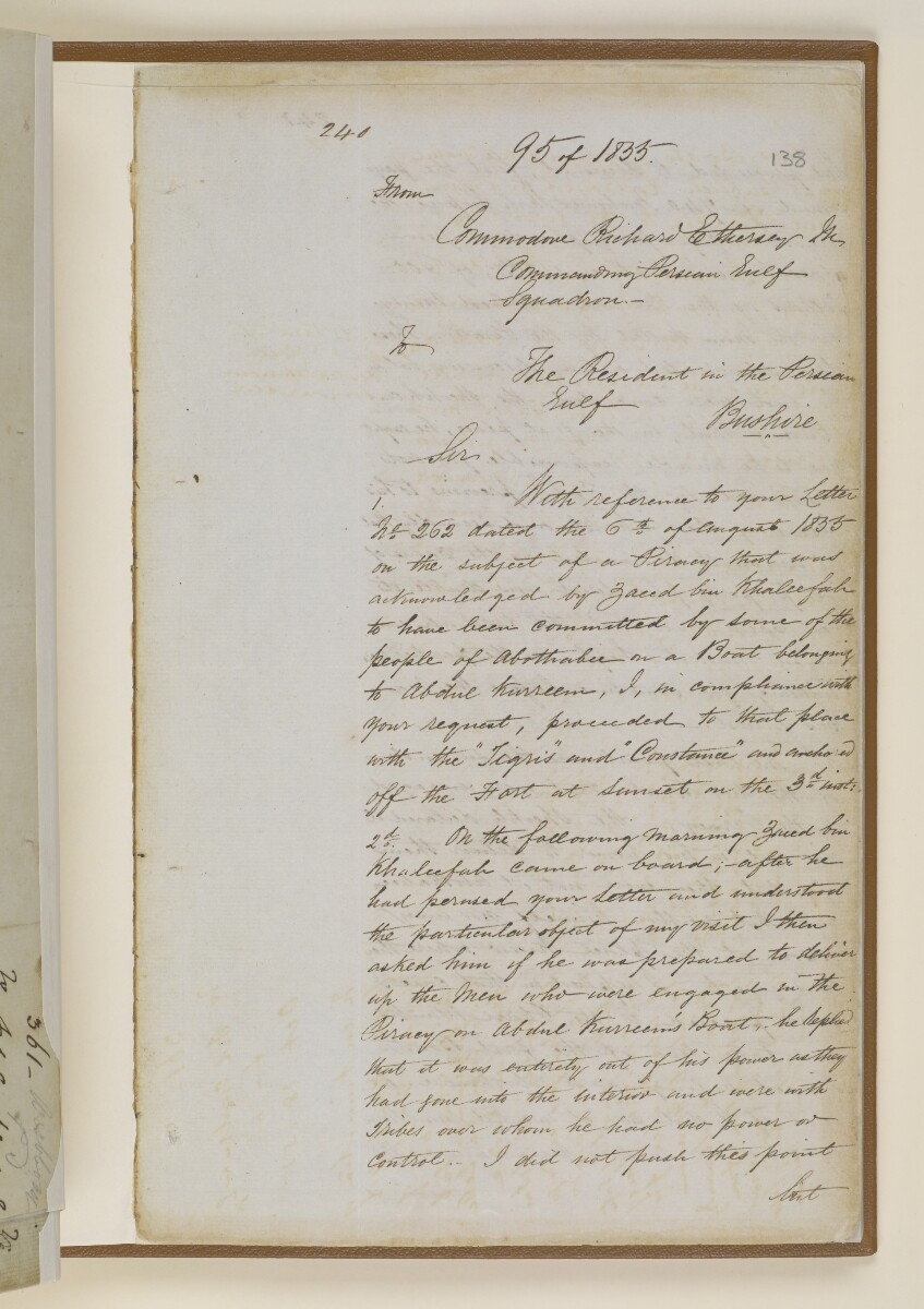 Letter no.361 of 1855 from Lieutenant Herbert Disbrowe, Assistant Resident in Charge, to Henry Anderson, Secretary to the Government of Bombay [‎138r] (4/15)