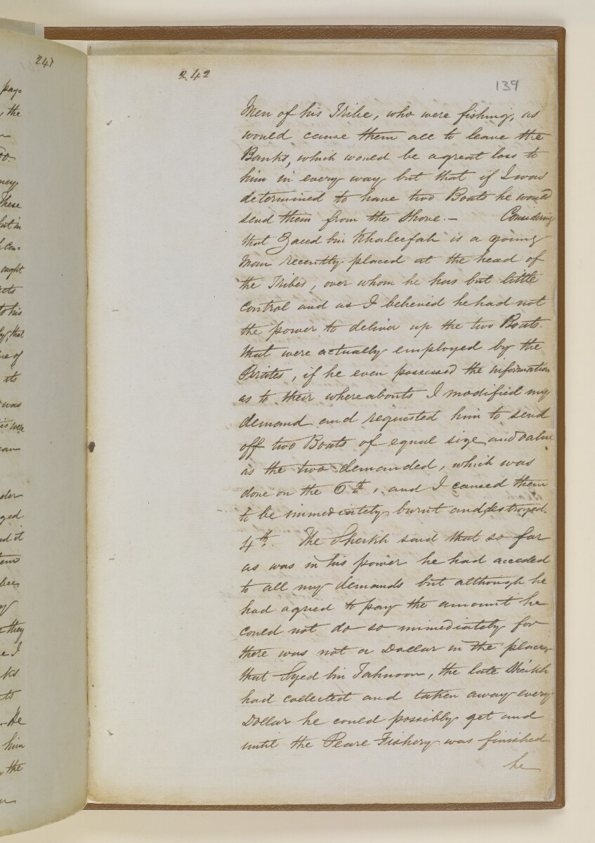 Letter no.361 of 1855 from Lieutenant Herbert Disbrowe, Assistant Resident in Charge, to Henry Anderson, Secretary to the Government of Bombay [139r] (6/15)