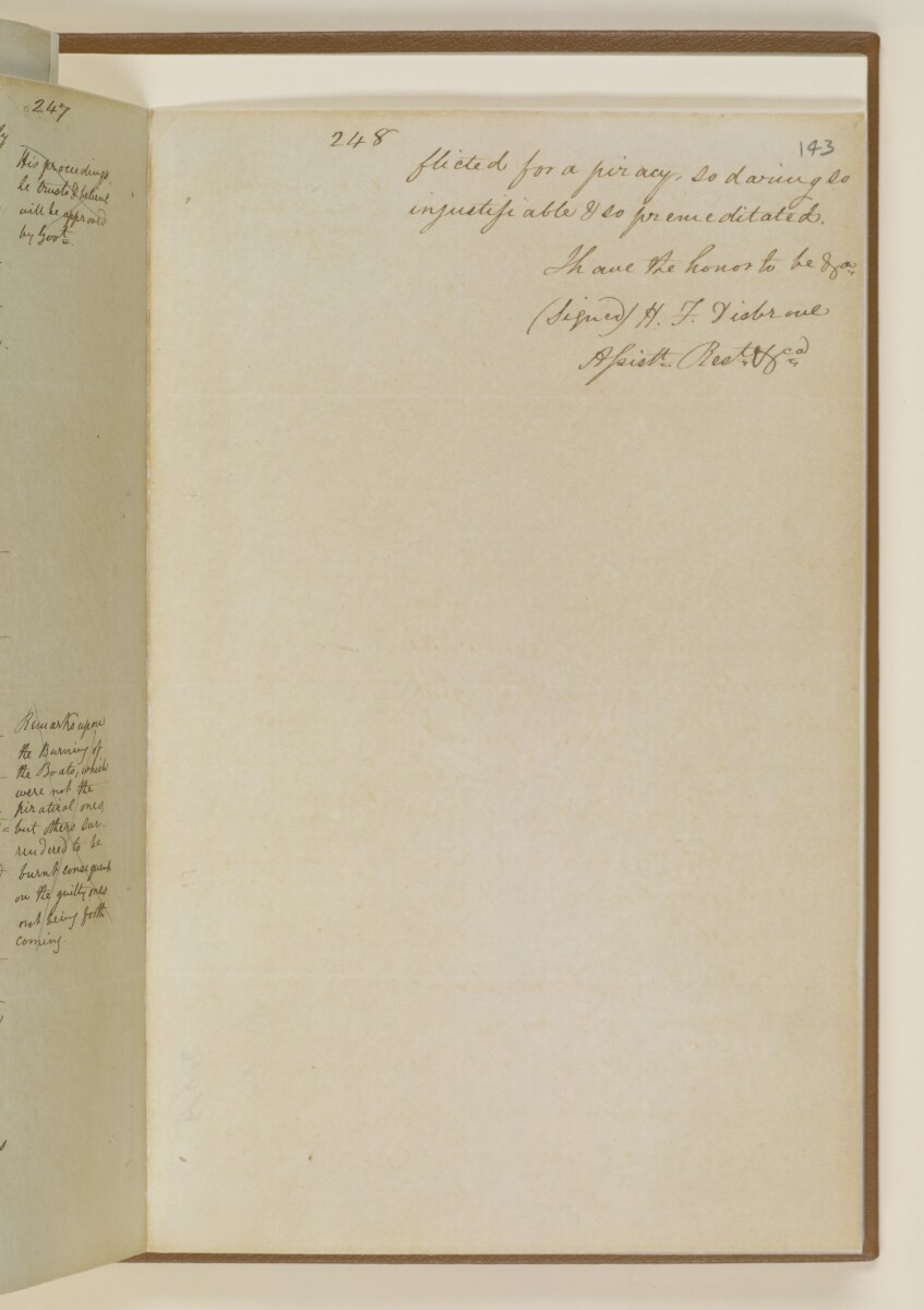 Letter no.361 of 1855 from Lieutenant Herbert Disbrowe, Assistant Resident in Charge, to Henry Anderson, Secretary to the Government of Bombay [143r] (14/15)