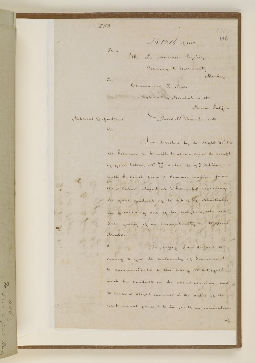 Letter no.5416 of 1855 from Henry Anderson, Secretary to the Government of Bombay, to Commander Felix Jones, Officiating Resident in the Persian Gulf [146r] (1/2)