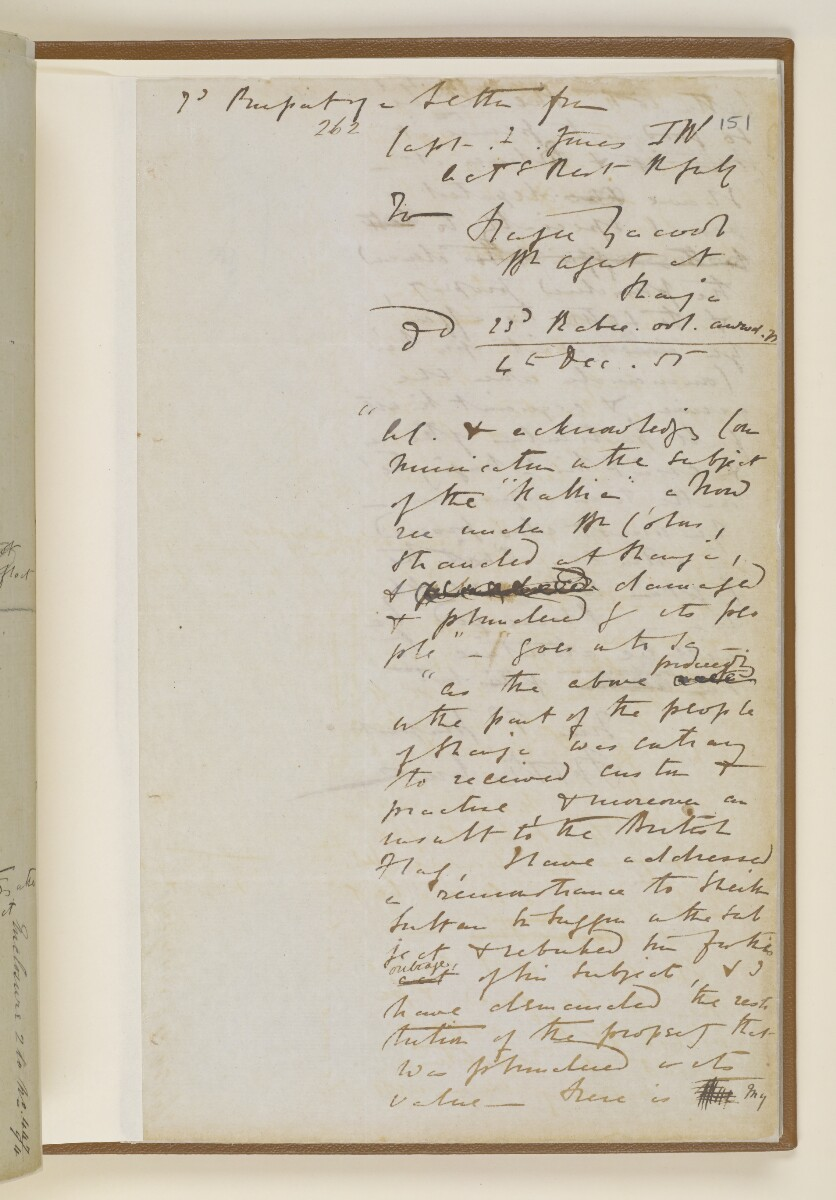 Letter no.447 of 1855 from Commander Felix Jones, Acting Resident in the Persian Gulf, to Henry Anderson, Secretary to the Government of Bombay [151r] (9/22)