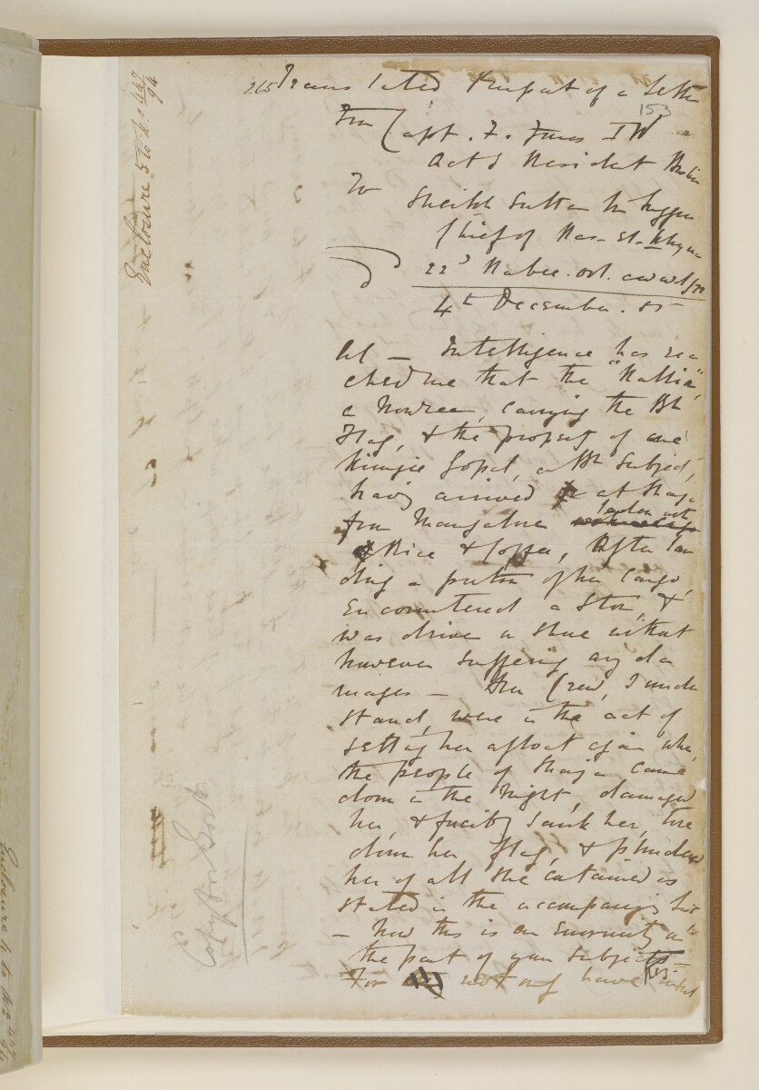 Letter no.447 of 1855 from Commander Felix Jones, Acting Resident in the Persian Gulf, to Henry Anderson, Secretary to the Government of Bombay [‎153r] (13/22)
