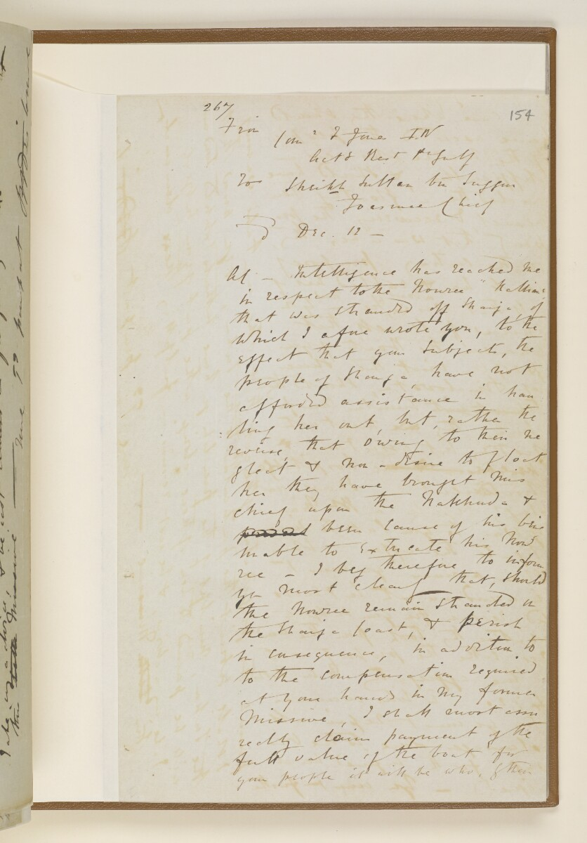 Letter no.447 of 1855 from Commander Felix Jones, Acting Resident in the Persian Gulf, to Henry Anderson, Secretary to the Government of Bombay [154r] (15/22)