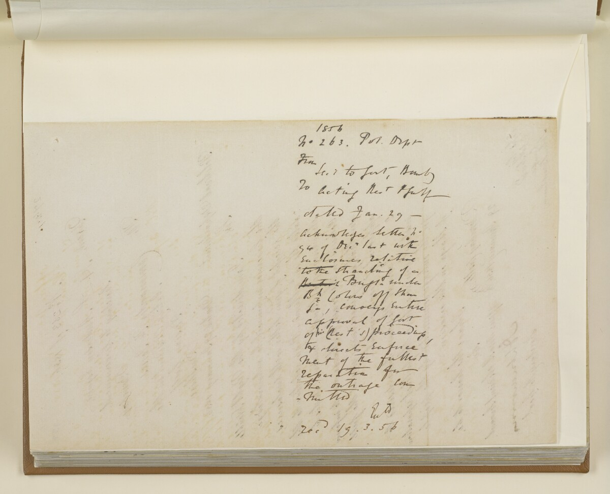 Letter no.263 of 1856 from Henry Anderson, Secretary to the Government of Bombay, to Commander Felix Jones, Acting Resident in the Persian Gulf [158v] (2/2)