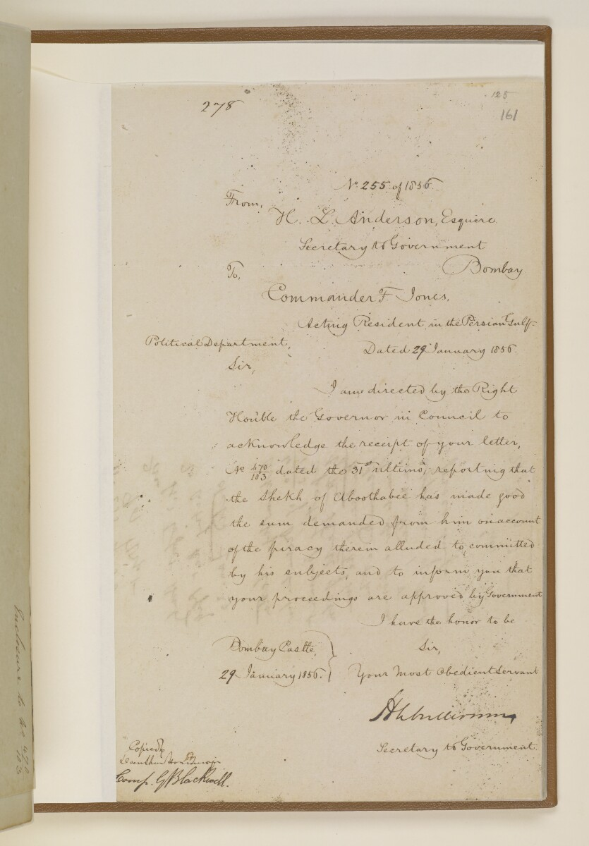 Letter no.255 of 1856 from Henry Anderson, Secretary to the Government of Bombay, to Commander Felix Jones, Acting Resident in the Persian Gulf [‎161r] (1/2)