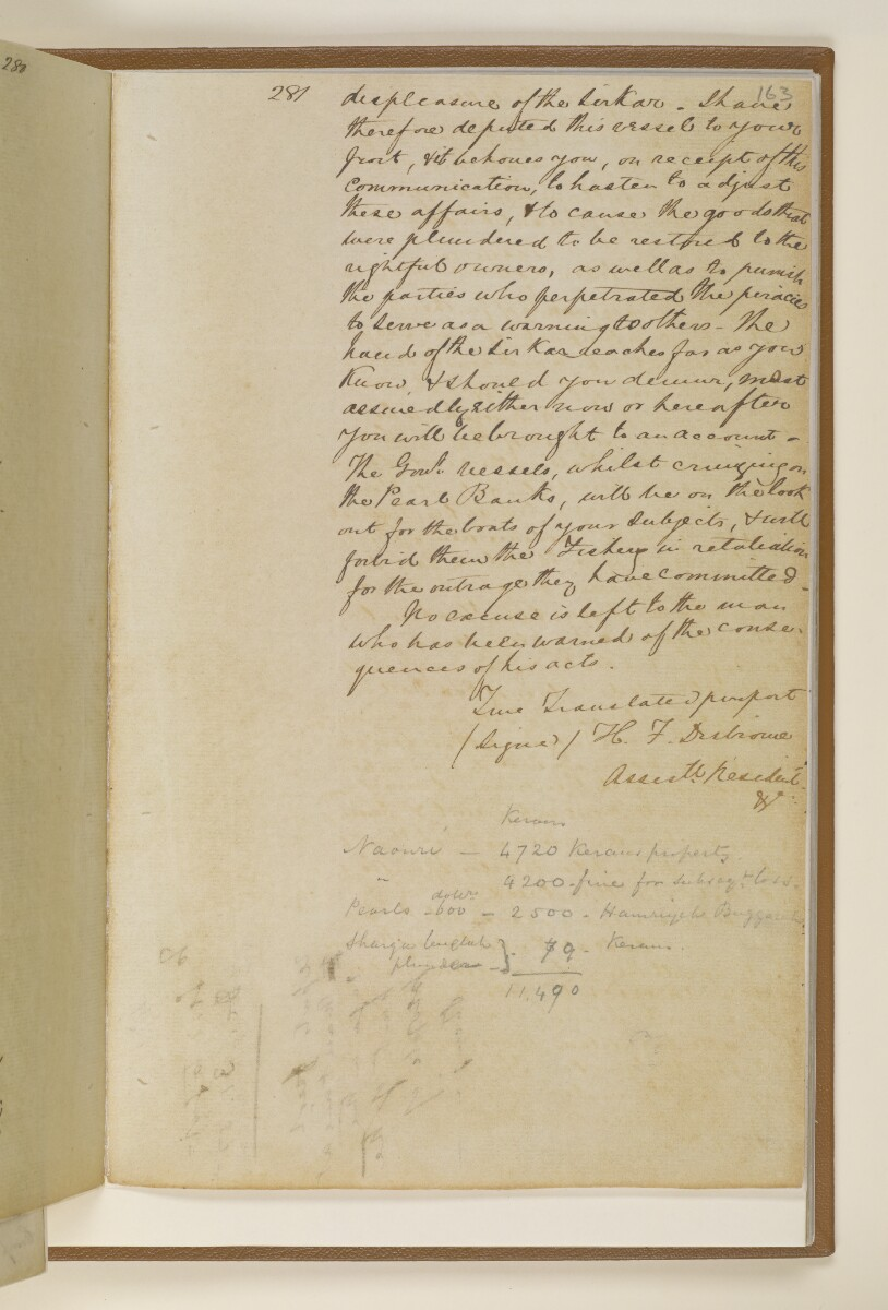Letter no.471 of 1855 from Commander Felix Jones, Acting Resident in the Persian Gulf, to Henry Anderson, Secretary to the Government of Bombay [163r] (3/4)