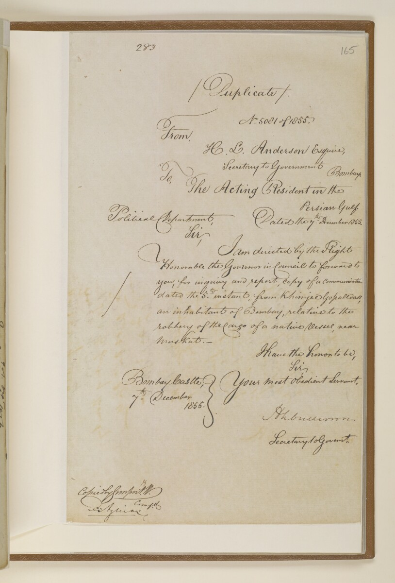 Letter no.5081 of 1855 from Henry Anderson, Secretary to the Government of Bombay, to the Acting Resident in the Persian Gulf [165r] (1/4)